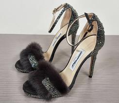 Jimmy Choo 'Kaylee' Genuine Mink Fur Crystal Sandal Womens Size 6.5/36.5... - $335.99