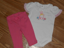 Gymboree Baby Girl Bunny Bodysuit Leggings size 0-3 Months NWT - $14.99