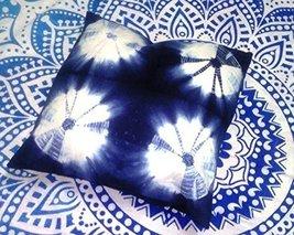 Indigo Pillow, Tie Dye Cushions, Decorative Cotton Throw, Shibori Pillow Cases,  - $11.76