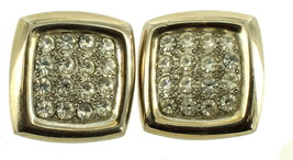 VINTAGE CHUNKY 70'S 80'S HUGE SQUARE GOLD TONE RHINESTONE CLIP EARRINGS ... - $48.59