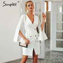 Elegant Lace Up Split Blazer Women Dress Autumn 2018 Double Breasted White Dress - $37.30