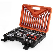61pcs Socket Ratchet Wrench Automobile Repair Tools(ORANGE) - $131.87