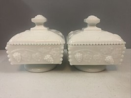Westmoreland White Milk Glass Paneled Grape Square Pedestal Dish Lid Set Of 2 - $28.05