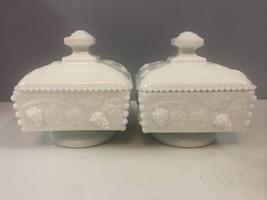 Westmoreland White Milk Glass Paneled Grape Square Pedestal Dish Lid Set... - $28.05