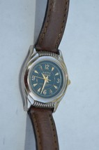 Vintage Kathy Ireland Green dial Quartz Watch Leather band, Keeping time - $11.26