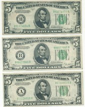 1934-A, 1934-B, 1934-C $5 FEDERAL RESERVE NOTES-GREAT LOT! SHIPS FREE! - $53.95