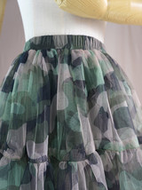 Women Knee Length Puffy Tulle Skirt Army Pattern Layered Tulle Skirt A-line Plus image 6