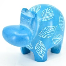 Vaneal Group Hand Crafted Carved Soapstone Light Blue Hippopotamus Hippo Figure image 2