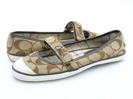 Coach Womens 5M Margot Beige Adjustable Strap Casual Mary Jane Flat Shoes - $29.99