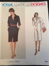 Vogue Sewing Pattern 2441 Vtg Calvin Klein Dress 8 Semi Fitted A Line FF - $11.32