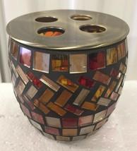 Brand new hand Made Glass Amber mosaic bathroom tooth brush holder - $22.76