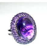 RARITIES LAYERED HUGE STERLING SILVER AMETHYST CABOCHON LARGE ESTATE RING - $135.00