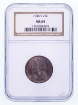 1946-S 25C Washington Quarter Graded by NGC as MS-65 - $31.68