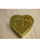 Delicate Golden Metal Heart Container 5 Inches wide 2 Inches Tall - $24.75