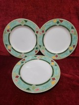 "SET of 3 Royal Doulton Japora Green Diamonds 9"" Salad Plates  - $35.64"