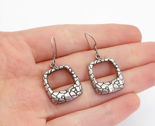 Primary image for 925 Sterling Silver - Vintage Cobble Etched Open Square Dangle Earrings - E9338