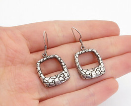 925 Sterling Silver - Vintage Cobble Etched Open Square Dangle Earrings ... - $27.96