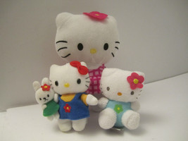 CUTE Trio of Small Plush Hello Kitty Sanrio Stuffed Cat Animal Toys NM Pre-Owned image 1