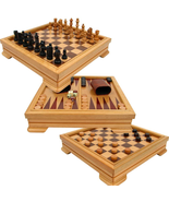 7-in-1 Game Set Chess Board Backgammon Checkers Dominos Playing Cards Po... - €54,94 EUR