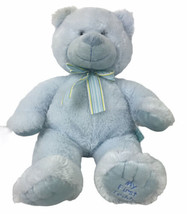 "russ berrie blue my first teddy bear with bow plush 18"" tall sewn eyes - $40.38"