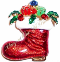 Christmas Stocking Santa Boot Pin Brooch Multi Crystal Red Enamel Presen... - $19.99