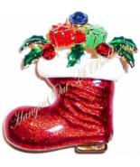Christmas Stocking Santa Boot Pin Brooch Multi Crystal Red Enamel Presents Gifts - $19.99