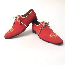 Handmade Red Suede Embroidered Dress/Formal Oxford Shoes image 2