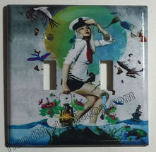 Artist Pretty Girl Ocean Light Switch Power Outlet Wall Cover Plate Home decor image 2