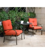 "3 PC Outdoor Bistro Patio Furniture Set Wrought Iron 28"" Steel Rectangle... - $204.99"