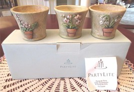 PartyLite TERRACE BLOSSOM TRIO Terra Cotta Tealight Candle Holder New Bo... - $25.00