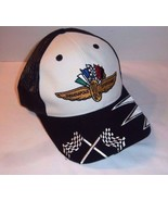 Snapback Indianapolis Speedway Hat Logo Trucker Mesh Motor Race Flags Of... - $30.68