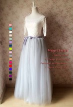 Women Extra Maxi Tulle Skirt Gray High Waist Long Tulle Skirt Party Bridal Tutu image 4