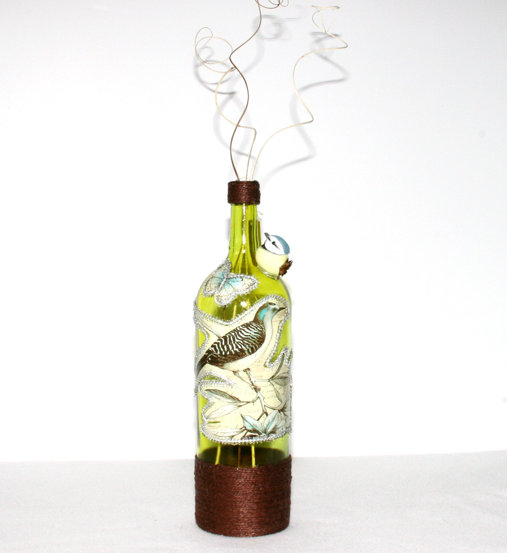 Large yellow recycled wine bottle decorated gift handmade for Recycled decorative items