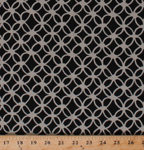 Macrame Circles Knots Geometric Black Cotton Fabric Print by the Yard D3... - $10.95