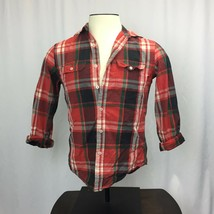 Ae American Eagle Outfitters White Red Plaid Cotton Athletic Fit Shirt Sp - $14.17