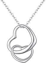 EVER FAITH Women's 925 Sterling Silver Simple Interlocking Open Heart Ad... - $66.10