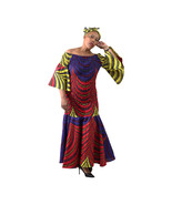 """African Print Peacock Print Smocked Dress, Cotton, 52"""" length, Headwrap - $150.00"""