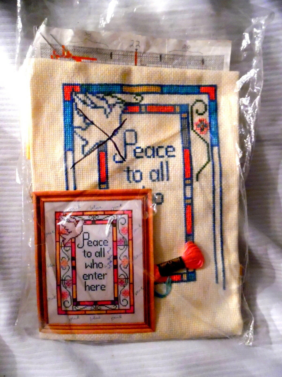 Primary image for Vintage PEACE TO ALL WHO ENTER HERE Needlepoint Kit