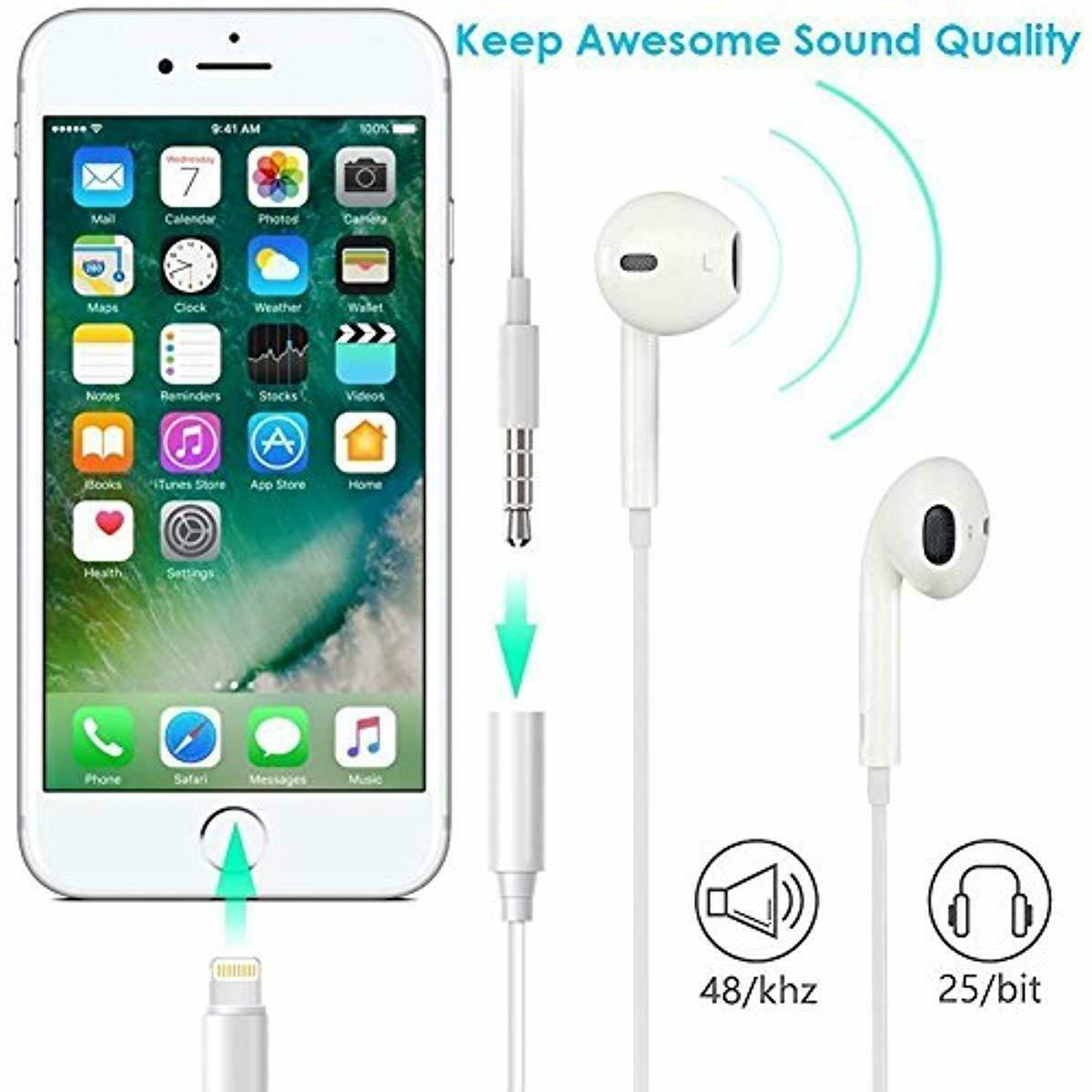 Earbuds Jack Adapter Cellphone Cable Earphones Lighting to 3.5mm Headphones New