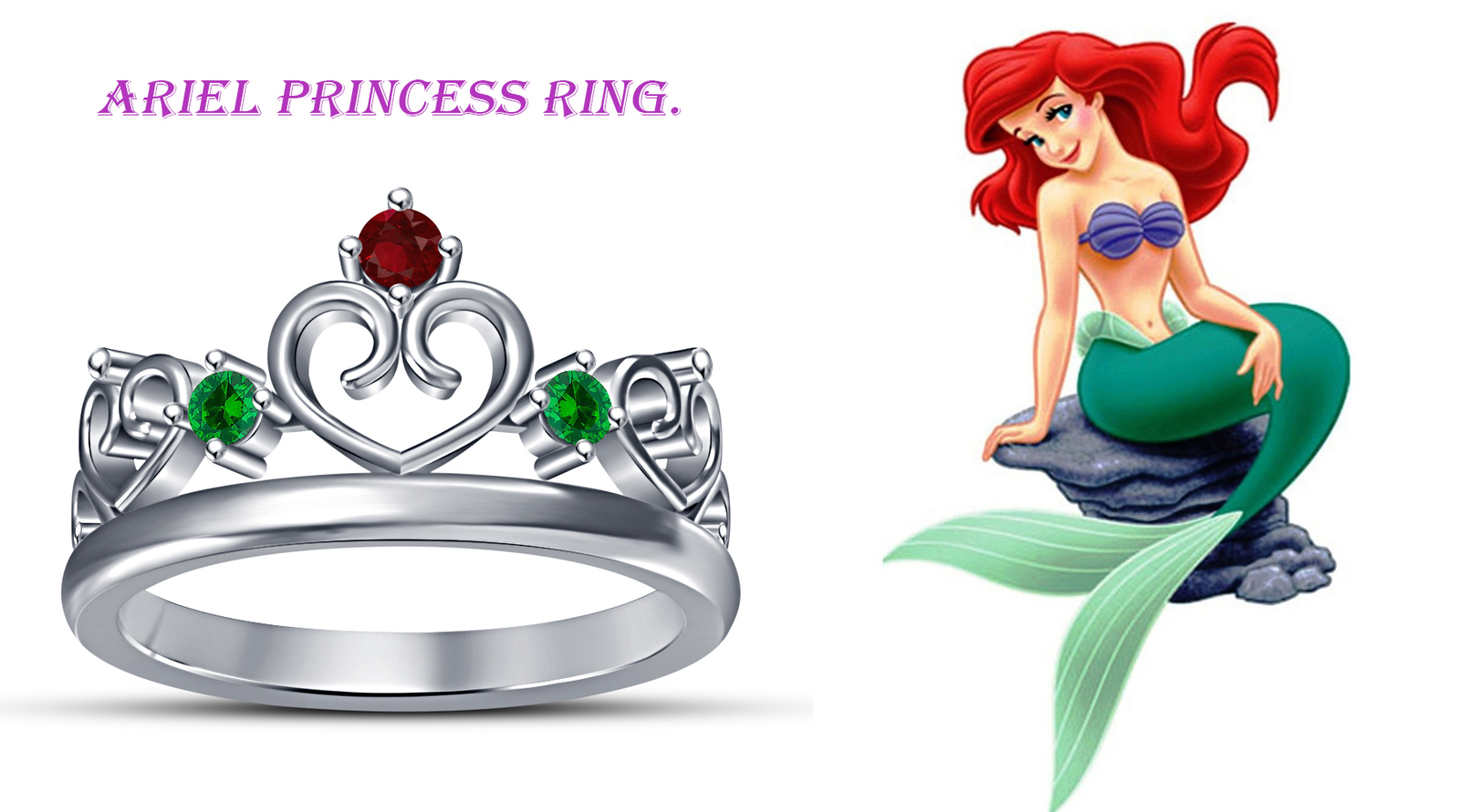 Primary image for Ariel Disney Princess 14k White GP 925 Silver Wedding Ring Round Cut Multi Stone