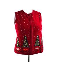 Charter Club Christmas Trees Embellished Beaded Medium Wool Vest - $24.74