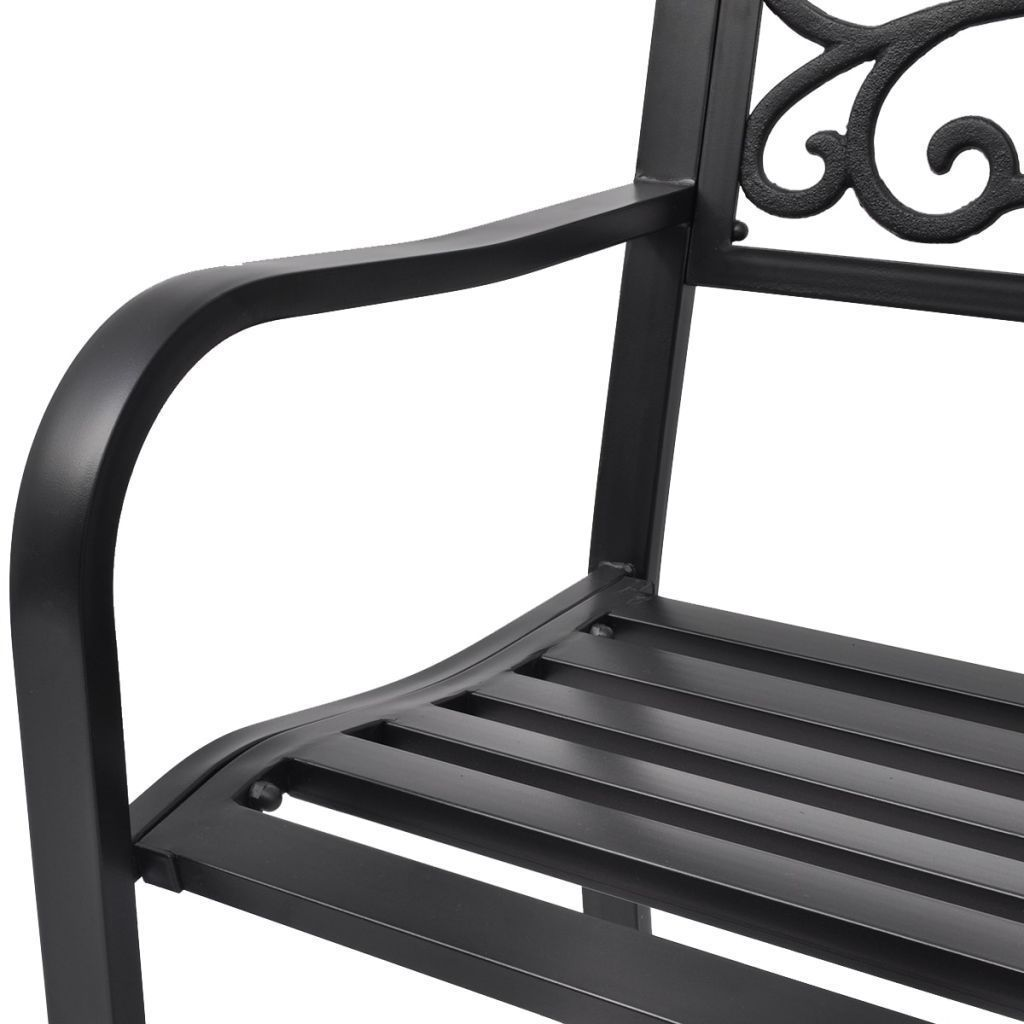 "50"" Outdoor Patio Park Garden Bench Porch Chair Steel Frame Cast Iron Backrest image 5"