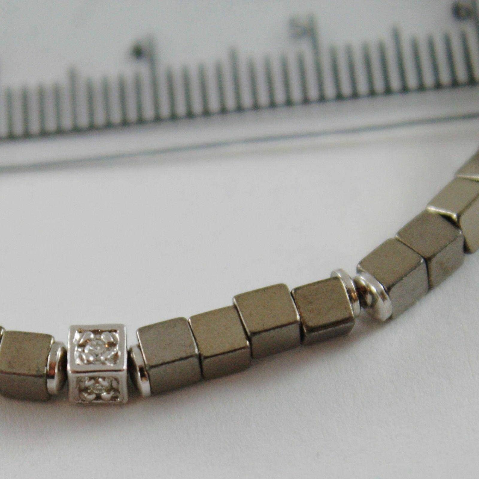 Armband Giadan aus Silber 925 Hämatit Glänzend und Diamanten Weiß Made in Italy image 2