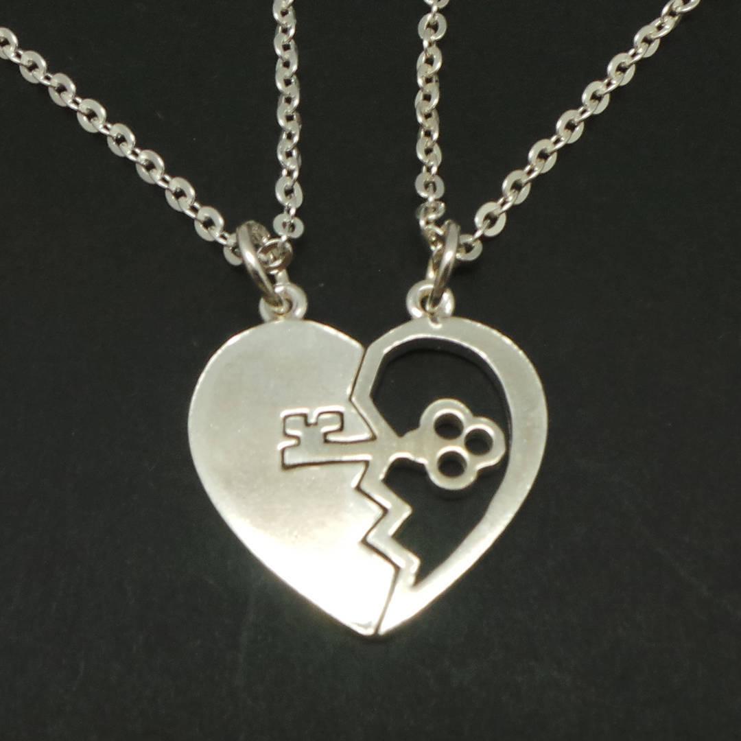 Handmade Sterling Silver Key Broken Heart Necklace Pendant