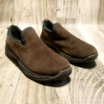 Lands End Womens 53603 Sz 8.5D Brown All Weather Suede Slip On Shoes - $29.99