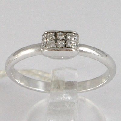 WHITE GOLD RING 750 18K, CENTRAL DOUBLE ROW DIAMONDS, CARAT TOTAL 0.10