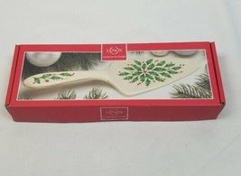 Lenox Holiday 11 Inch porcelain dessert server holly and berries - $25.69