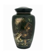 Large/Adult 210 Cubic Inch Metal Fish and Cabin Funeral Cremation Urn fo... - $199.99