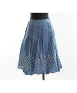 HM Blue White Embroidered Pintuck A Line Lined Cotton Skirt 10 EUC - $24.26