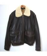 Leather BOMBER JACKET Lamb Shearling Collar Brown PILOT Lined Zip Men Large - $123.75